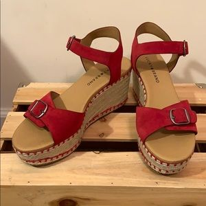 Lucky Brand red suede wedges